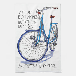 Kann Glück, blaues Fahrrad nicht kaufen Geschirrtuch | Zazzle.at