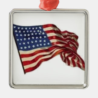 Kann lang sie wellenartig bewegt - Flagge Quadratisches Silberfarbenes Ornament
