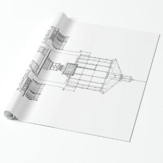 Kap Hatteras Leuchtturm-Laternen-Raum-Plan Geschenkpapier