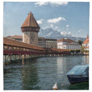 Kapellen-Brücken-Luzerne, die Schweiz Stoffserviette