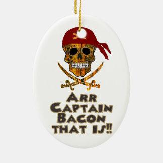 Kapern Sie Speck-Schädel Arr Kapitän Bacon, der! Ovales Keramik Ornament