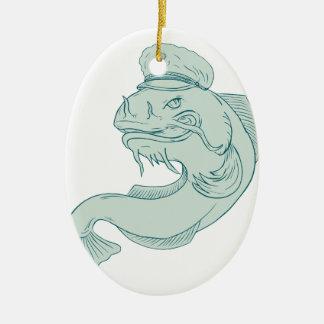 Kapitän Catfish Drawing Keramik Ornament