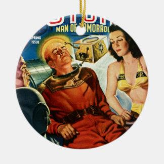 Kapitän Future und der Gehirn-Kasten Keramik Ornament