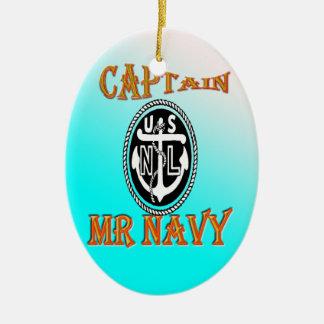KAPITÄN Herr NAVY mit Steigung Ovales Keramik Ornament