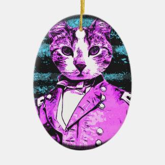 Kapitän Meow Round Ovales Keramik Ornament