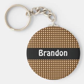 Karamell-Checkered Muster personalisiertes Schlüsselanhänger