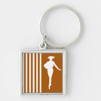 Karamell-moderne Streifen mit Mode-Silhouette Schlüsselanhänger