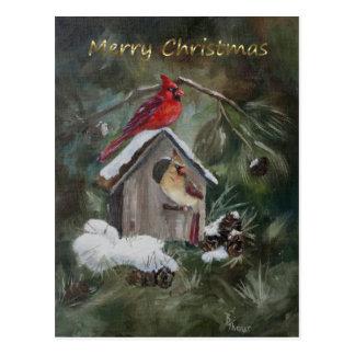 Kardinals-Zuhause-süße Zuhause-Weihnachtskarte Postkarte