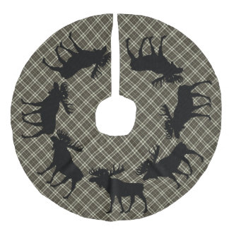 Karierte Elche des Baumrock Land-Weihnachtsbrauns Leinenimitat Weihnachtsbaumdecke