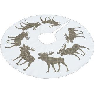 Karierte Elche des Baumrock Weihnachtsbrauns Polyester Weihnachtsbaumdecke