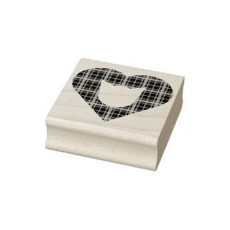 Karierte Katzen-Herz-Gummi-Briefmarke Gummistempel