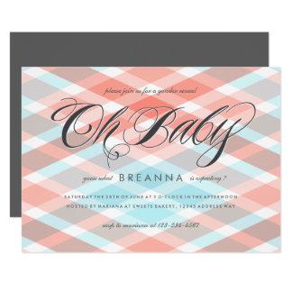 Kariertes Geschlecht decken Party-Baby-Dusche auf 12,7 X 17,8 Cm Einladungskarte