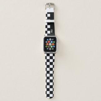 Kariertes Muster-Schwarzweiss-Monogramm Apple Watch Armband