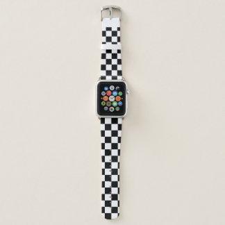 Kariertes Schwarzweiss-Muster Apple Watch Armband