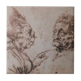 Karikatur durch Leonardo da Vinci Keramikfliese
