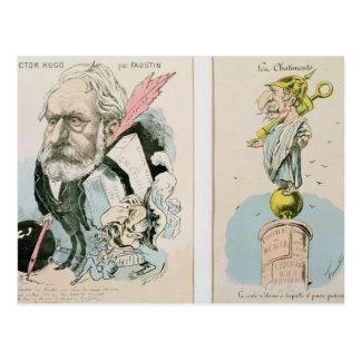 Karikaturen von Victor Hugo und von Napoleon III Postkarte