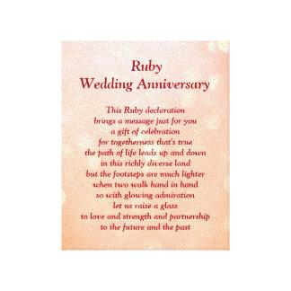 Karminrote Hochzeits-Jahrestags-Leinwand Leinwanddruck