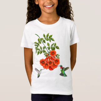 Karminrote Throated Kolibri-Paare auf T-Shirt