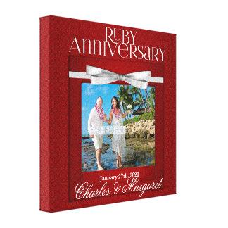 karminroter Rot-Damast des Hochzeitstag-8x8-inch Leinwanddruck