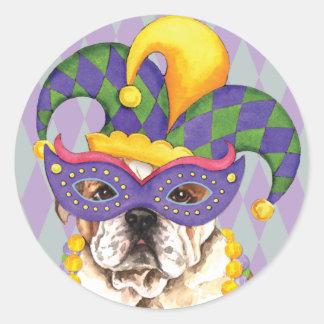 Karneval-Bulldogge Runder Aufkleber