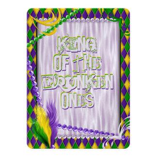 Karneval-Harlekin-Muster, Perlen, Federn 14 X 19,5 Cm Einladungskarte