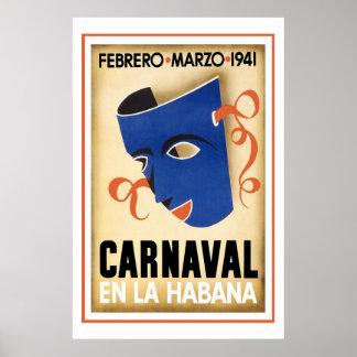 Karneval in Vintager Reise Havanas Poster