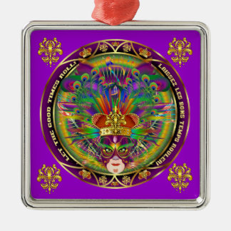 Karneval-Karnevals-Ereignis sehen bitte Quadratisches Silberfarbenes Ornament