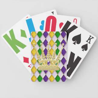 Karneval-Kronen-Harlekin-Muster-Weiß Poker Karten