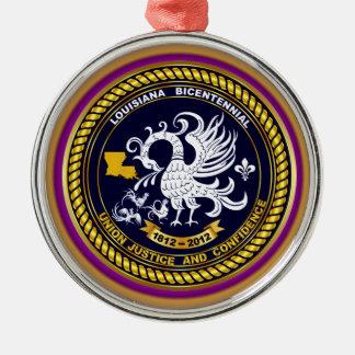 Karneval-Logo-Ansicht-Andeutung Louisianas Rundes Silberfarbenes Ornament