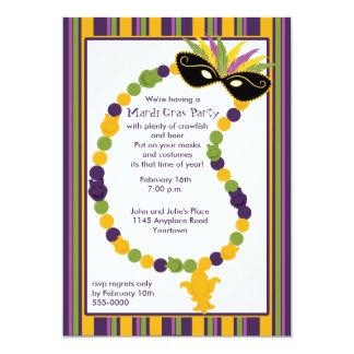 Karneval-Maske und Perlen-Party Einladung
