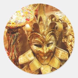 Karnevals-Goldspaßvogel-Masken-Karneval Runder Aufkleber