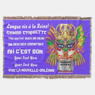 Karnevals-Gumbo-Königin gelesen über den Entwurf Decke