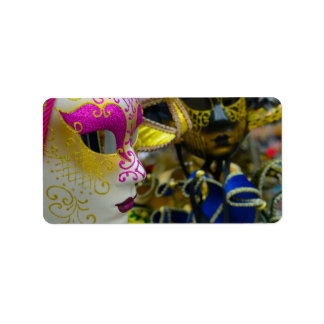 Karnevals-Maskerade-Masken in Venedig Italien Adressaufkleber