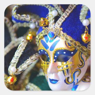 Karnevals-Maskerade-Masken in Venedig Italien Quadratischer Aufkleber