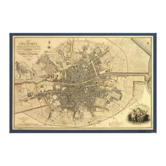Karte 1797 von Dublin Irland Gespannter Galerie Druck