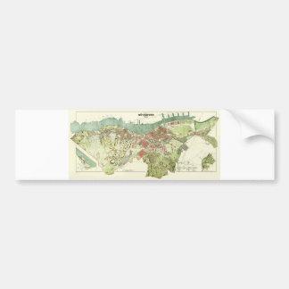 Karte 1888 von Gothenburg Schweden durch Ludvig Autoaufkleber