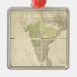 Karte der Ostinseln mit den Straßen (1768) Quadratisches Silberfarbenes Ornament
