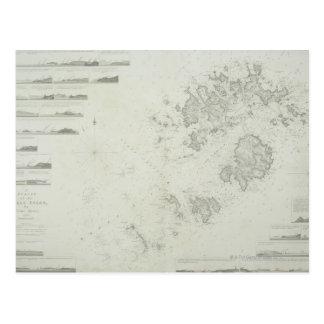 Karte der Scilly Inseln in Großbritannien Postkarte