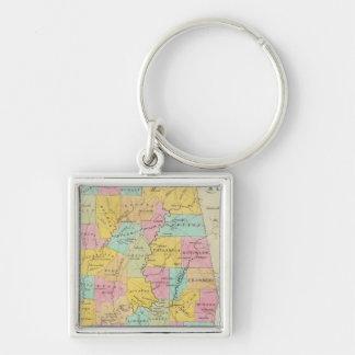Karte des Staat von Alabama Silberfarbener Quadratischer Schlüsselanhänger