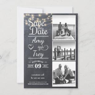 Karte des Tafel-Schnur-Licht-Foto-  Save the Date