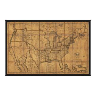 Karte des USA (1819) Leinwand Drucke