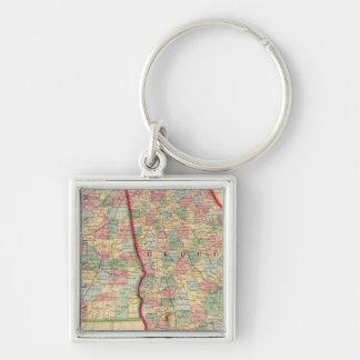 Karte Georgia, Alabama durch Mitchell Silberfarbener Quadratischer Schlüsselanhänger