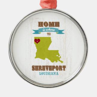 Karte Shreveports, Louisiana - Zuhause ist wo Rundes Silberfarbenes Ornament