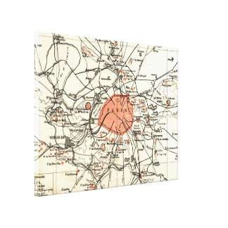 Karte Vintagen Paris und der Umgebung (1890) Gespannter Galeriedruck