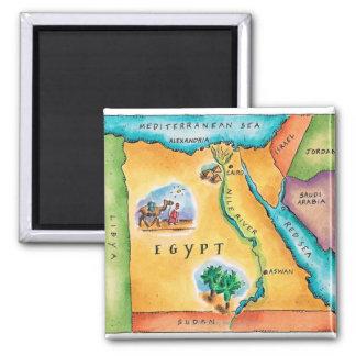 Karte von Ägypten Quadratischer Magnet