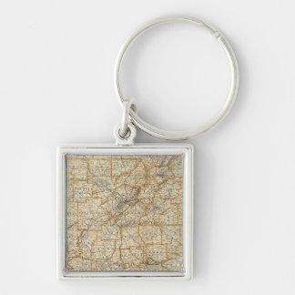 Karte von Alabama Silberfarbener Quadratischer Schlüsselanhänger