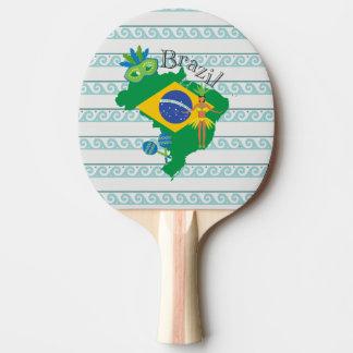 Karte von Brasilien mit Brazillian Flagge Tischtennis Schläger