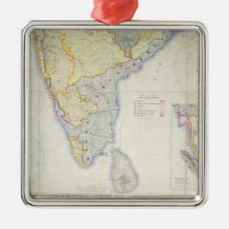 Karte von britischem Südindien, 1872 Quadratisches Silberfarbenes Ornament
