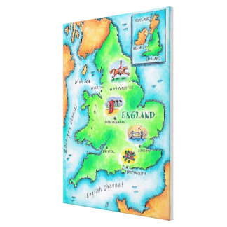 Karte von England Gespannter Galerie Druck