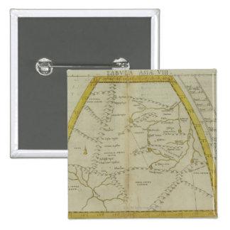 Karte von Indien und von Zentralasien Quadratischer Button 5,1 Cm